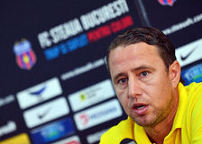 STEAUA BUCHAREST PRESS CONFERENCE BEFORE CL GAME AGAINST DINAMO TBILISI Stock Photo