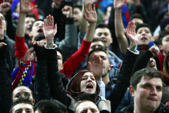 FC Steaua Bucharest- FC Gaz Metan Medias. Steaua Bucharest supporters, during the football match, counting for the Romanian League One , between FC Steaua Royalty Free Stock Image
