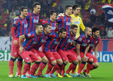 Steaua Buchearest lineup before UEFA Champions League game Royalty Free Stock Image