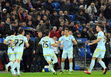 Steaua football players celebrate goal during UEFA Champions League game Stock Photography