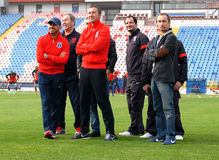 Steaua's technical staff whatch the fans Stock Photos