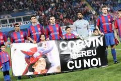 Steaua - Vaslui match. Steaua Bucharest - FC Vaslui match on Ghencea Stadium - Corvin memory Stock Image