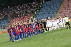 Steaua vs. Dinamo. Steaua Bucharest vs. Dinamo Bucharest on Ghencea Stadium Stock Photo