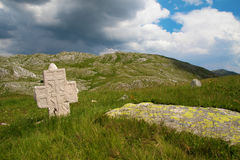 Stecak medieval tombstone. And serbian cross in Zelengora mountain Stock Photo