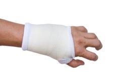 Stecca della mano del primo piano per il trattamento rotto dell'osso isolata Fotografia Stock