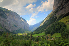 Stechelberg view in the direction of Lauterbrunnen. Mountain view taken in Stechelberg in the direction of Lauterbrunnen, Berner Oberland in Switzerland Stock Photo