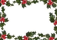 Stechpalme-Blatt und roter Beeren-Rand Lizenzfreie Stockbilder