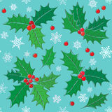 Stechpalme - nahtloses Muster des Weihnachtssymbols lizenzfreie abbildung