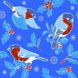 Stechpalme, Schneeflocken und Dompfaffe nahtlos stock abbildung