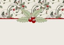 Stechpalme-u. Beeren-Feiertags-Gruß-Karte Stockfotos