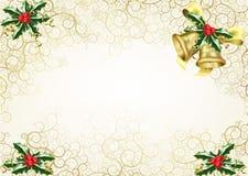 Stechpalme- und Glockenweihnachtshintergrund Lizenzfreie Stockfotografie