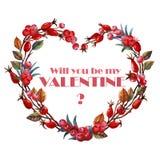 Stechpalmenaquarellherz mit Hagebutten Seien Sie mein Valentinsgrußtitel Zwei verklemmte Innere hochzeit verpflichtung Stockfotografie