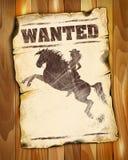 Steckbrief leer mit Schattenbild eines Schönheitsmädchens auf horsebac Lizenzfreie Stockbilder