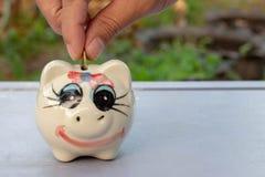 Stecken eines Geldes in eine piggy Querneigung lizenzfreie stockbilder