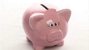 Stecken eines Geldes in eine piggy Querneigung stock video