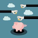 Stecken eines Geldes in eine piggy Querneigung stock abbildung