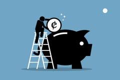 Stecken eines Geldes in eine piggy Querneigung lizenzfreie abbildung