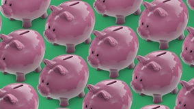 Stecken eines Geldes in eine piggy Querneigung Geldkasten voll Münzen Sparschweinförderer vektor abbildung