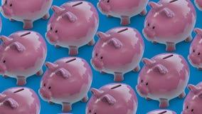 Stecken eines Geldes in eine piggy Querneigung Geldkasten voll Münzen Sparschweinförderer stock abbildung