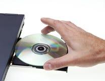 Stecken Sie DVD/CD-ROM ein Stockfotografie