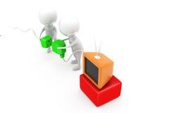 Steckerkonzept des Mannes 3d Fernseh Lizenzfreies Stockfoto