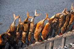 Steckerlfisch - Fish on a Stick. Steckerlfisch, grilled mackerel on a stick, is a typical food to be eaten in a Bavarian Beergarden or on Oktoberfest stock images