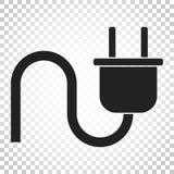 Steckervektorikone Flache Illustration des EnergieDrahtseils Einfacher Bus Stockfotos