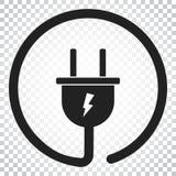 Steckervektorikone Flache Illustration des EnergieDrahtseils Einfacher Bus Lizenzfreies Stockbild