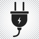 Steckervektorikone Flache Illustration des EnergieDrahtseils Einfacher Bus Lizenzfreies Stockfoto
