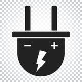Steckervektorikone Flache Illustration des EnergieDrahtseils Einfacher Bus Lizenzfreie Stockfotos