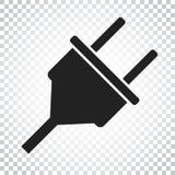 Steckervektorikone Flache Illustration des EnergieDrahtseils Einfacher Bus Stockbild