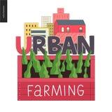 Stedelijk de landbouw en het tuinieren embleem stock illustratie