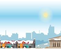 Stedelijk landschap met grote heldere gebouwen en voorstad met privé huizen op een achtergrond De winter vector illustratie