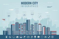 Stedelijk landschap met infographic elementen Moderne stad Slimme stad Het malplaatje van de conceptenwebsite Vector Royalty-vrije Stock Foto