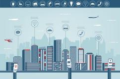 Stedelijk landschap met infographic elementen Moderne stad Slimme stad Het malplaatje van de conceptenwebsite Vector Royalty-vrije Stock Fotografie