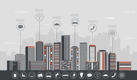 Stedelijk landschap met infographic elementen Moderne stad Slimme stad Het malplaatje van de conceptenwebsite Vector Royalty-vrije Stock Foto's