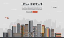 Stedelijk Landschap Moderne stad De bouwarchitectuur, cityscape stad Het malplaatje van de conceptenwebsite Vector Royalty-vrije Stock Foto