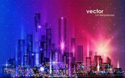 Stedelijk Landschap Stad met sneeuw illustratie met de stad in architectuur, wolkenkrabbers, megapolis, gebouwen royalty-vrije illustratie