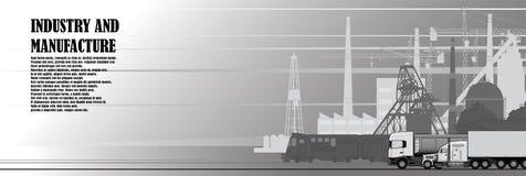 Stedelijk landschap van fabrieks industriële infrastructuur royalty-vrije illustratie