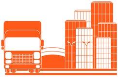 Stedelijk leveringsteken met vrachtwagen Stock Fotografie