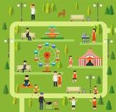 Stedelijk openbaar park, die in het park, picknick kamperen, lopend de hond in park, die in park, Rust op de ritten in park lopen stock illustratie