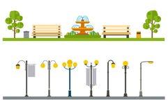 Stedelijk openluchtdecor, elementenparken en stegen, straten en kant stock illustratie