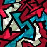 Stedelijk rood naadloos patroon met grungeeffect Stock Afbeelding