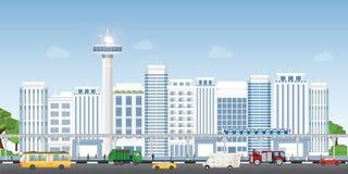 Stedelijk stadslandschap met eigentijdse gebouwen royalty-vrije illustratie