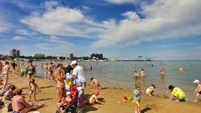 Stedelijk Strand in Anapa op de Zwarte Zee, Rusland Stock Foto's