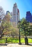 Stedelijke Cityscape in Stad Hall Park Lower Manhattan Royalty-vrije Stock Afbeeldingen