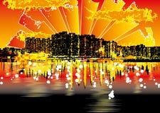 Stedelijke cityscape van Grunge Royalty-vrije Stock Afbeeldingen