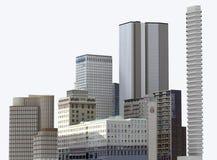 Stedelijke die gebouwen en wolkenkrabbers op witte achtergrond worden geïsoleerd 3D Illustratie royalty-vrije illustratie