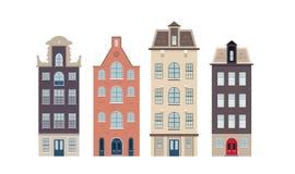 Stedelijke Europese huizen op de witte achtergrond Royalty-vrije Stock Fotografie
