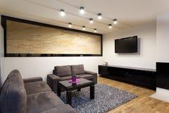 Stedelijke flat - woonkamer stock afbeelding